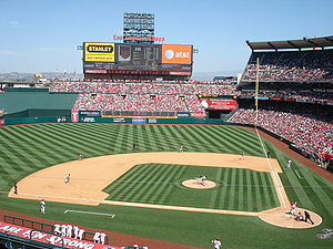 English: Anaheim Angels vs Boston Red Sox at A...