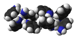 Space-filling model of solid aniline