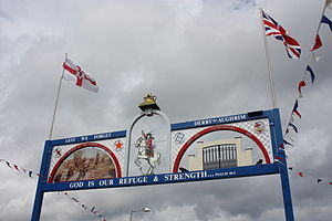 "The Twelfth - An ""Orange Arch"" and bunting raised over a road in Annalong (see here for more pictures)"