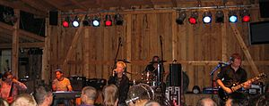 Anne Clark (poet) - Anne Clark's live band 2008 (from left to right): Jann Michael Engel, Murat Parlak, Anne Clark, Niko Lai, Jeff Aug