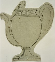 Design for a silver teapot with animal motifs