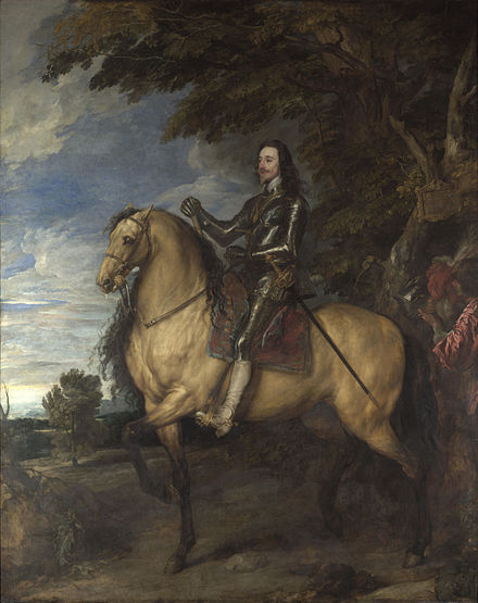 Charles, as painted by Sir Anthony van Dyck between 1637 and 1638 Anthonis van Dyck - Equestrian Portrait of Charles I - National Gallery, London.jpg