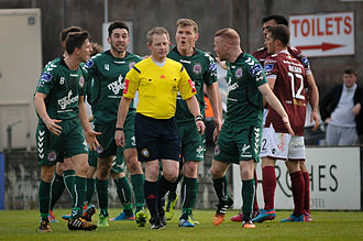 Anthony Buttimer - Anthony Buttimer is surrounded by Bohemian's players during their 2015 League of Ireland game with Galway United at Eamon Deacy Park