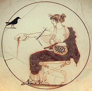 Music of ancient Greece - Apollo with the tortoise-shell (chelys) lyre, on a 5th-century BC drinking cup (kylix)