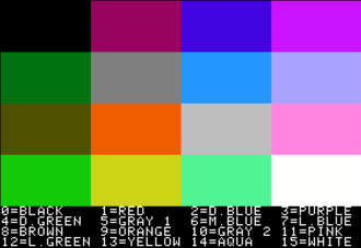 Apple II graphics - Low-resolution colors 0 (black), 3 (purple), 6 (medium blue), 9 (orange), 12 (light green) and 15 (white) were also available in high-resolution mode. Colors 5 and 10 (gray) are indistinguishable on original hardware; however, some emulators (such as AppleWin) display them as different shades. Note that some of the Applewin emulator colors seen here differ markedly from those shown on original hardware.