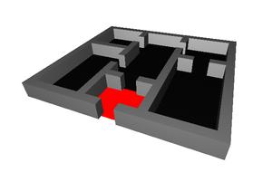 Vestibule (architecture) - A floor plan with a modern vestibule shown in red.