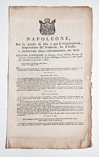 Coat of arms of Napoleonic Italy - Image: Archivio Pietro Pensa Ferro e miniere, 1 Avvisi e decreti, 009