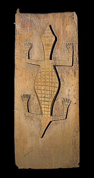 Sakalava people - Door with a carved crocodile, exhibited at the World Exhibition in Paris in 1900.