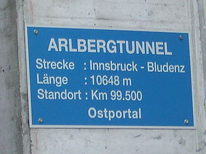 Arlberg Railway Tunnel - Sign at the eastern mouth of the railway tunnel