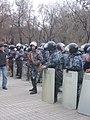 Armenian Presidential Elections 2008 Protest Mar 21 - Myasnikian Square - riot police gun.jpg