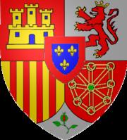 Armoiries des Bourbons d'Espagne, composées de celles de Castille, de Leon, d'Aragon, de Navarre, de Grenade et des Bourbons