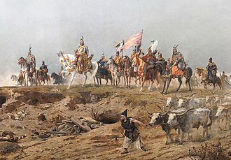 History of Hungary - Grand Prince Árpád crossing the Carpathians. A detail of the Arrival of the Hungarians, Árpád Feszty's and his assistants' vast (1800 m²) cycloramic canvas, painted to celebrate the 1000th anniversary of the Magyar conquest of Hungary, now displayed at the Ópusztaszer National Heritage Park in Hungary.