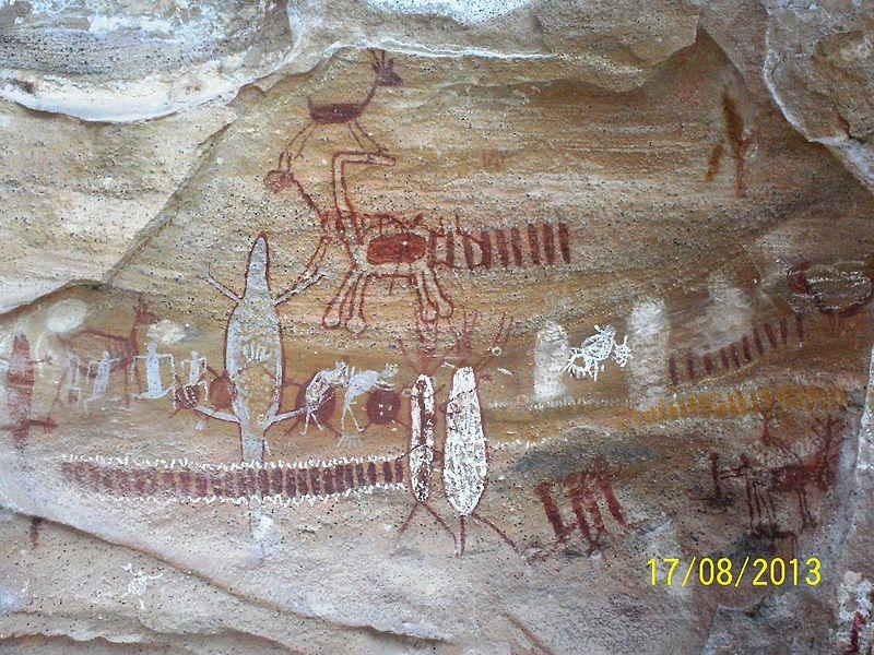 Pintura rupestre no Parque Nacional da Serra da Capivara (PI). Foto: Wemerson Vieira de Oliveira/Wikipedia