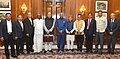 Arun Jaitley, the Minister of State for Finance and Shipping, Shri P. Radhakrishnan, the Minister of State for Finance, Shri Shiv Pratap Shukla along with the senior officials presented the General Budget to the President.jpg