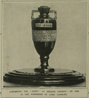 The Ashes - The earliest published photo of the Ashes urn, from The Illustrated London News, 1921