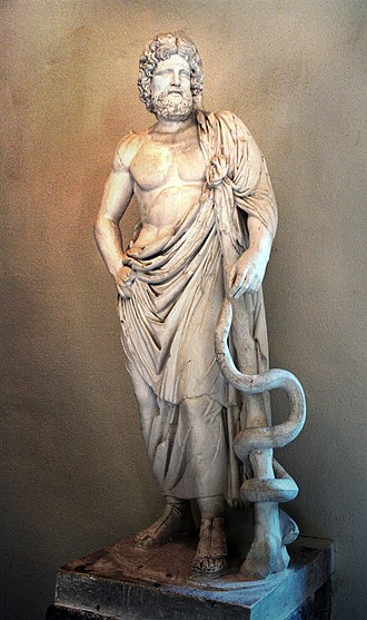 Asclepius - Asclepius with his serpent-entwined staff, Archaeological Museum of Epidaurus