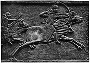 Ashurbanipal hunting, a palace relief from Nineveh.