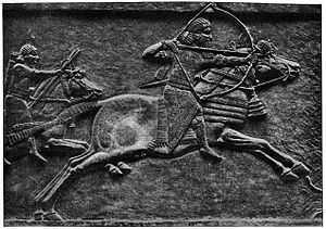 Military history of the Neo-Assyrian Empire - Image: Assurbanipal op jacht