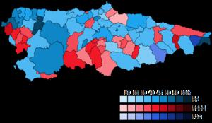 Asturias (Congress of Deputies constituency) - Image: Asturias Municipal Map Congress 2011