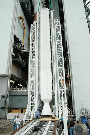 AJ-60A - An AJ-60A booster, without nosecone attached, being fitted to an Atlas V