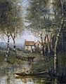 Attribuée à Jean-Baptiste Camille Corot - La rivière en bateau et la maison.jpg