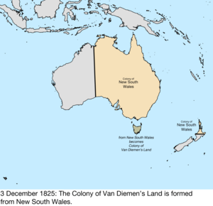 Territorial evolution of Australia - Map of the change to the founding colonies of Australia on 3 December 1825
