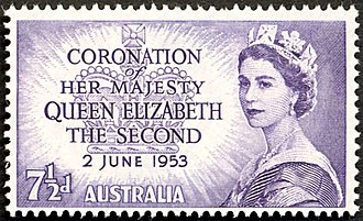 Monarchy of Australia - Postage stamp with portrait of the Queen, 1953