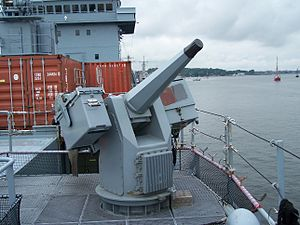 Revolver cannon - MLG 27 remote controlled revolver cannon on board an Elbe class tender of the German Navy