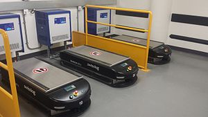 Queen Elizabeth University Hospital - Automated Guided Vehicles charging in the hospitals basement level.