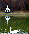 Autumn church reflections swan lake - West Virginia - ForestWander.jpg