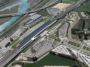Gare d'Avignon TGV - Sky view of Avignon TGV railway station
