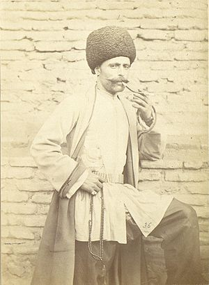 Azerbaijani traditional clothing - Azerbaijani man in a national costume. Photo by D.A.Nikitin. The second half of the 19th century.