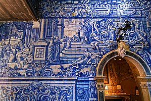 Peniche, Portugal - Image: Azulejos na Igreja de Nossa Senhora dos Remédios, Peniche (36059786463)