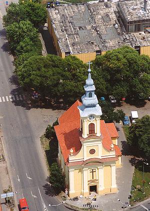 Békés - Aerial photography: Roman Catholic Temple of Békés