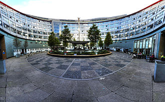 Television Centre, London - Panoramic view of the centre of the building, showing the statue of Helios, the Greek god of the sun