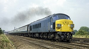 BR Class 45 on passenger train at Loughborough, July 1975.jpg