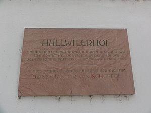 Bad Säckingen - Hallwiler Hof, Schild.JPG