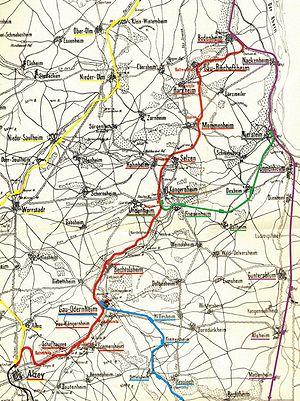 Alzey–Mainz railway - Image: Bahnstrecken 1896