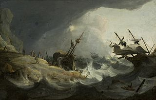 Shipwreck off a rocky coast on March 1694.