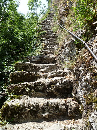 Balm ruins - Narrow staircase leading up to the castle