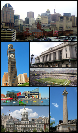 Innenstadt, Emerson Bromo-Seltzer Tower, Pennsylvania Station, M & T Bank Stadium, Inner Harbor und das National Aquarium in Baltimore, Rathaus von Baltimore, Washington Monument