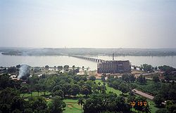 View of Bamako and Bamako Bridge.