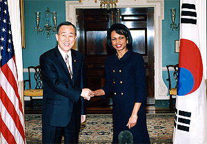 Ban Ki-moon - Ban, left, with U.S. Secretary of State Condoleezza Rice in January 2006