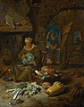 Barn interior with an old woman and still life of vegetables.jpg
