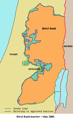 Seam Zone - The Wall (according to the ICJ Wall Case opinion) route as of May 2005. Seam Zone, the area between the Wall (according to the ICJ Wall Case opinion) and the 1949 Arab-Israeli armistice line, is colored in blue-green.