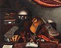 Bartolomeo Bettera - Still-life with musical instruments, books and playing cards.jpg