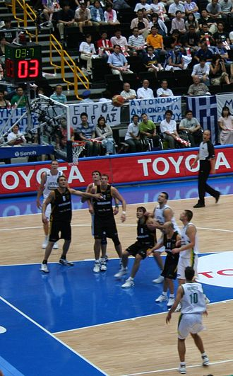 2006 FIBA World Championship squads - Germany (in black) playing against Lithuania