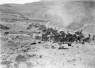 Battle of Megiddo (1918) - Yildirim Army Group carts and gun carriages destroyed by EEF aircraft on the Nablus-Beisan road