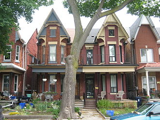 History of neighbourhoods in Toronto - A pair of semi-detached bay-and-gable houses, a style found throughout Toronto in the late 19th and early 20th century
