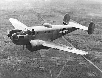 Beechcraft Model 18 - Beechcraft AT-11 over the West Texas prairies, c. 1944